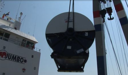 reel being loaded on-board